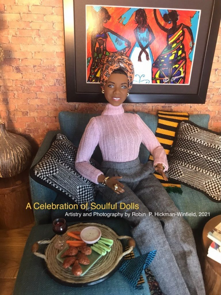 Dr Maya Angelou redressed in casual clothes visits a home with African decor