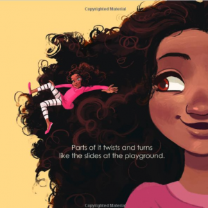 Front cover of the book Emi's Curly, Coily, Cotton Candy Hair showing a smiling little girl with curly hair