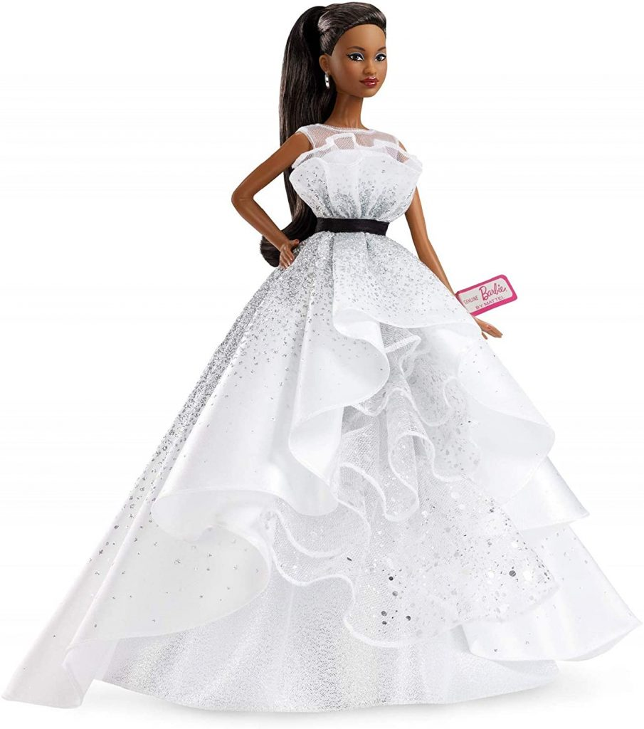 Black bridal Barbie bride with full skiry