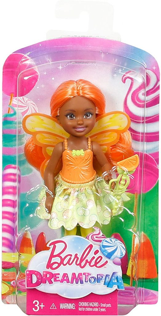 Fairy doll in a package with a cellophane front that shows the doll against an imaginative package.
