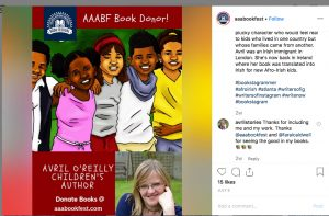 An Instagram post by the AAABookFeest naming Avril O'Reilly as a Book Donor