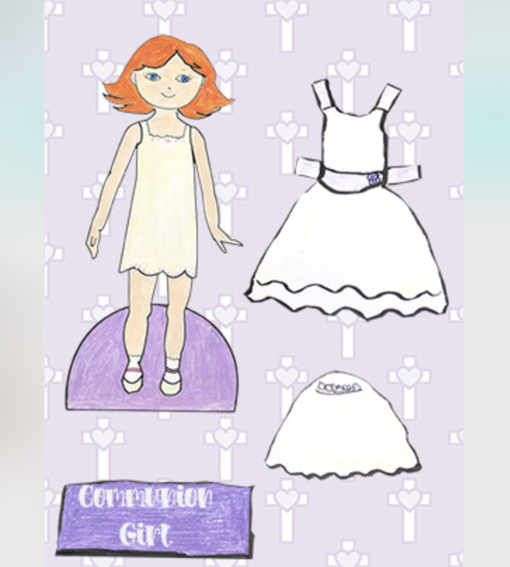 Paper doll with dress, veil and stand