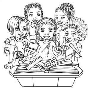 Colouring books featuring African American children with natural ...