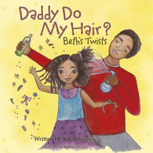 A black daddy styles his little girl's long curly hair