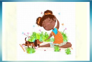 Cute drawing of a little girl sitting in the garden with her sausage dog