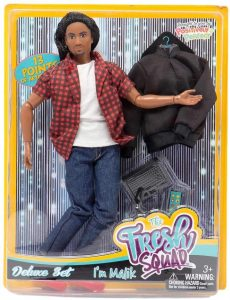 articulated black male doll in a box