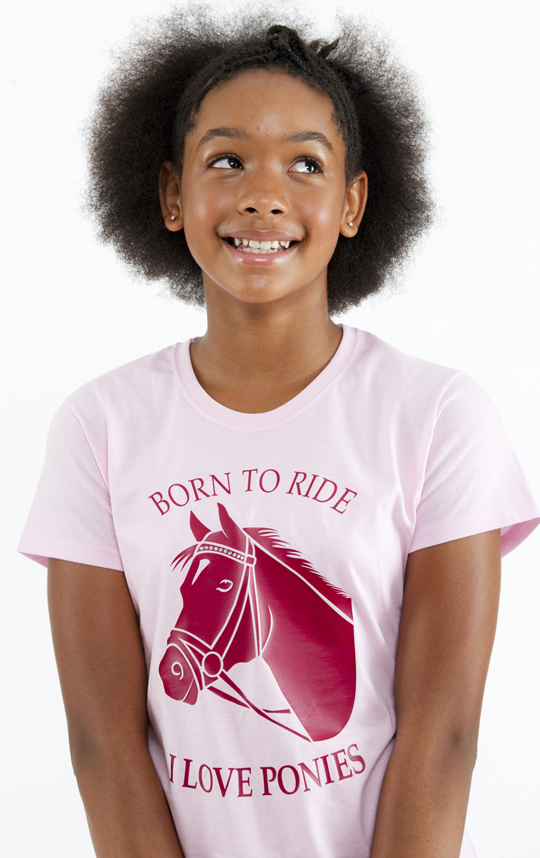 Smiling young teen in a pink pony t-shirt