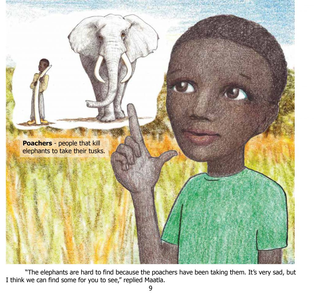 An African boy points at an elephant and a poacher holding a tusk