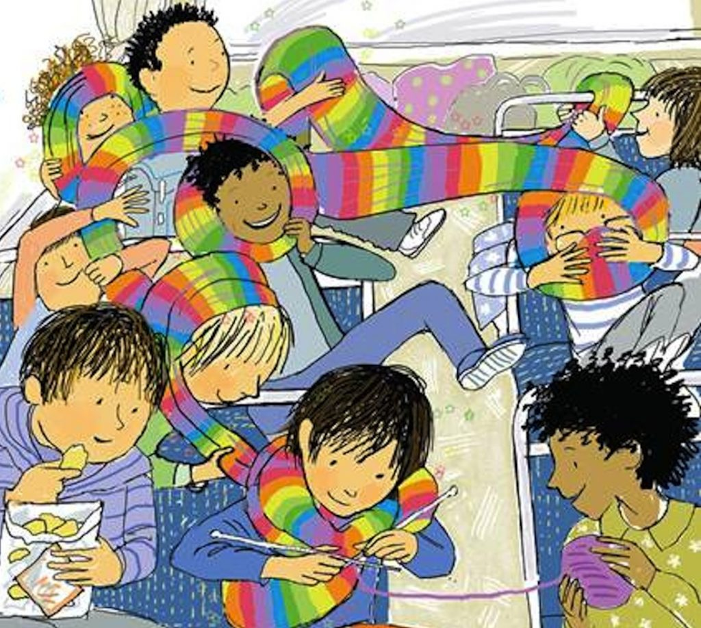 A scene on a school bus. A little boy is knitting a long scarf while behind him his classmates are playing with the long colourful garment.