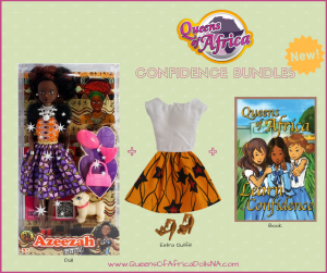 A doll in a box, a doll outfit and a children's book