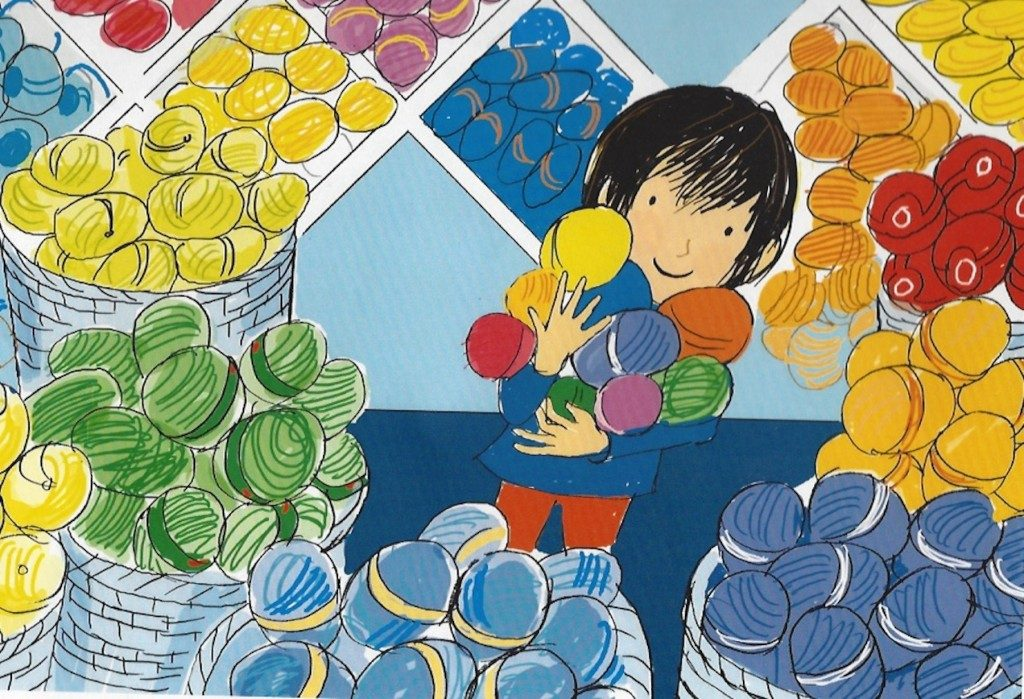 Drawing of little boy in a yarn shop holding balls of wool