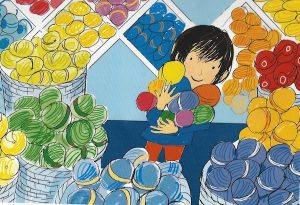Drawing of little boy in a yarn shop holding balls of wool.