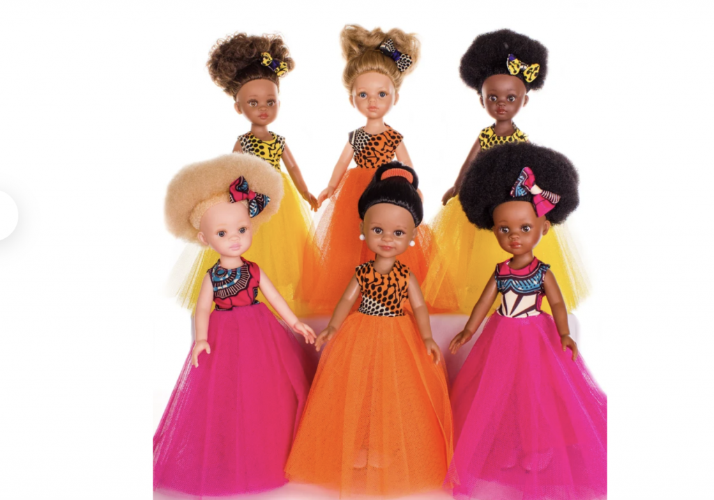 dark skinned doll dreses in glamourous gold clothes