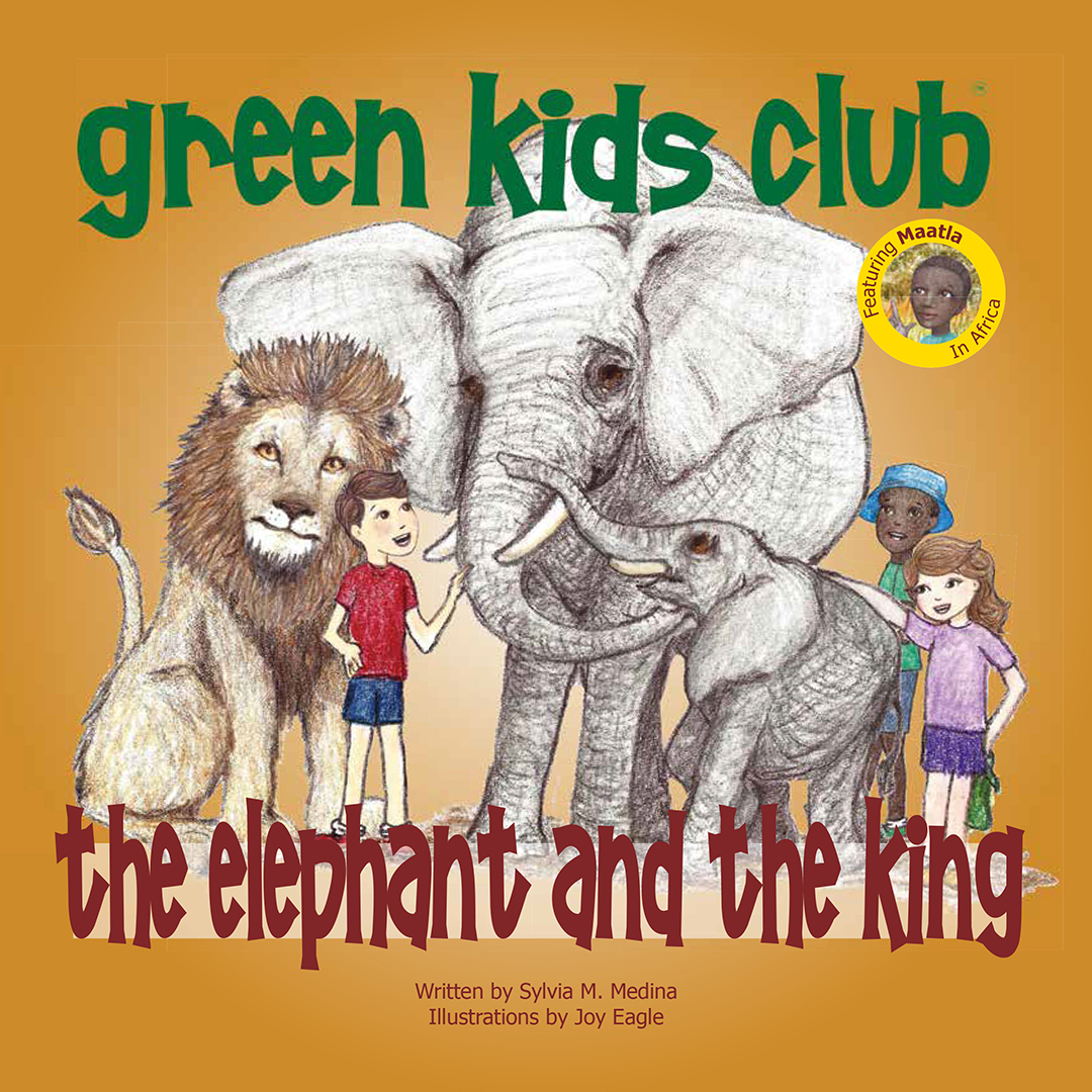 Book cover showing drawing of two children surrounded by African wild animals