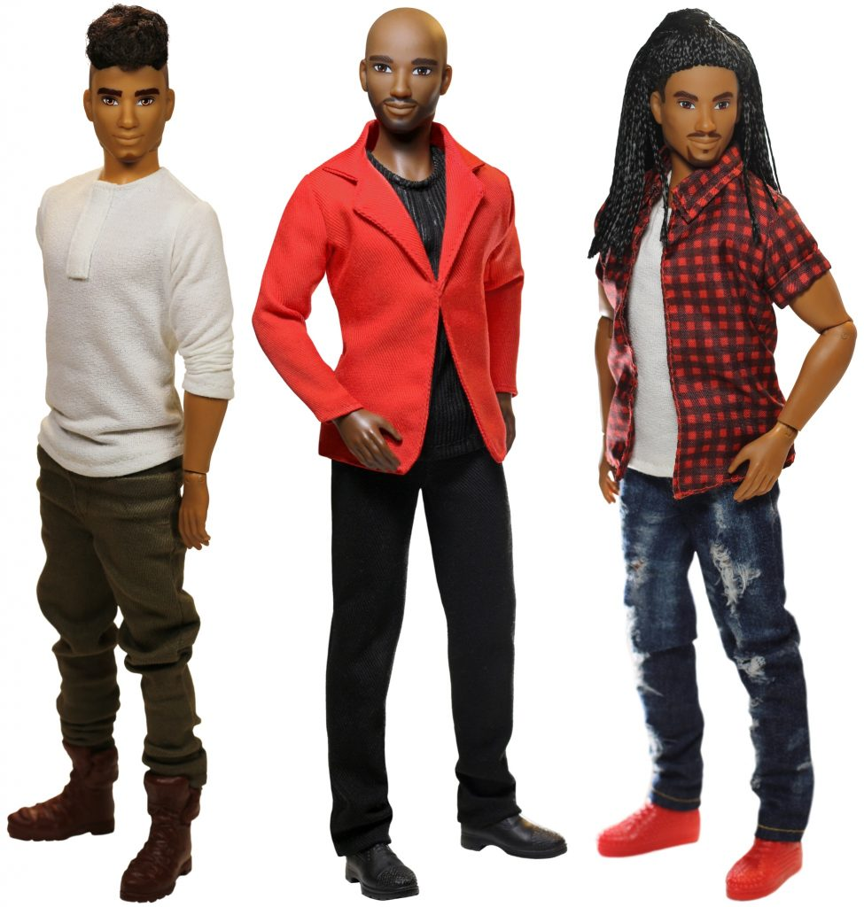 three male black and hispanc dolls