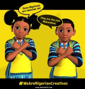 A Nigerian girl and boy with their arms crossed like characters from the movie Black Panther