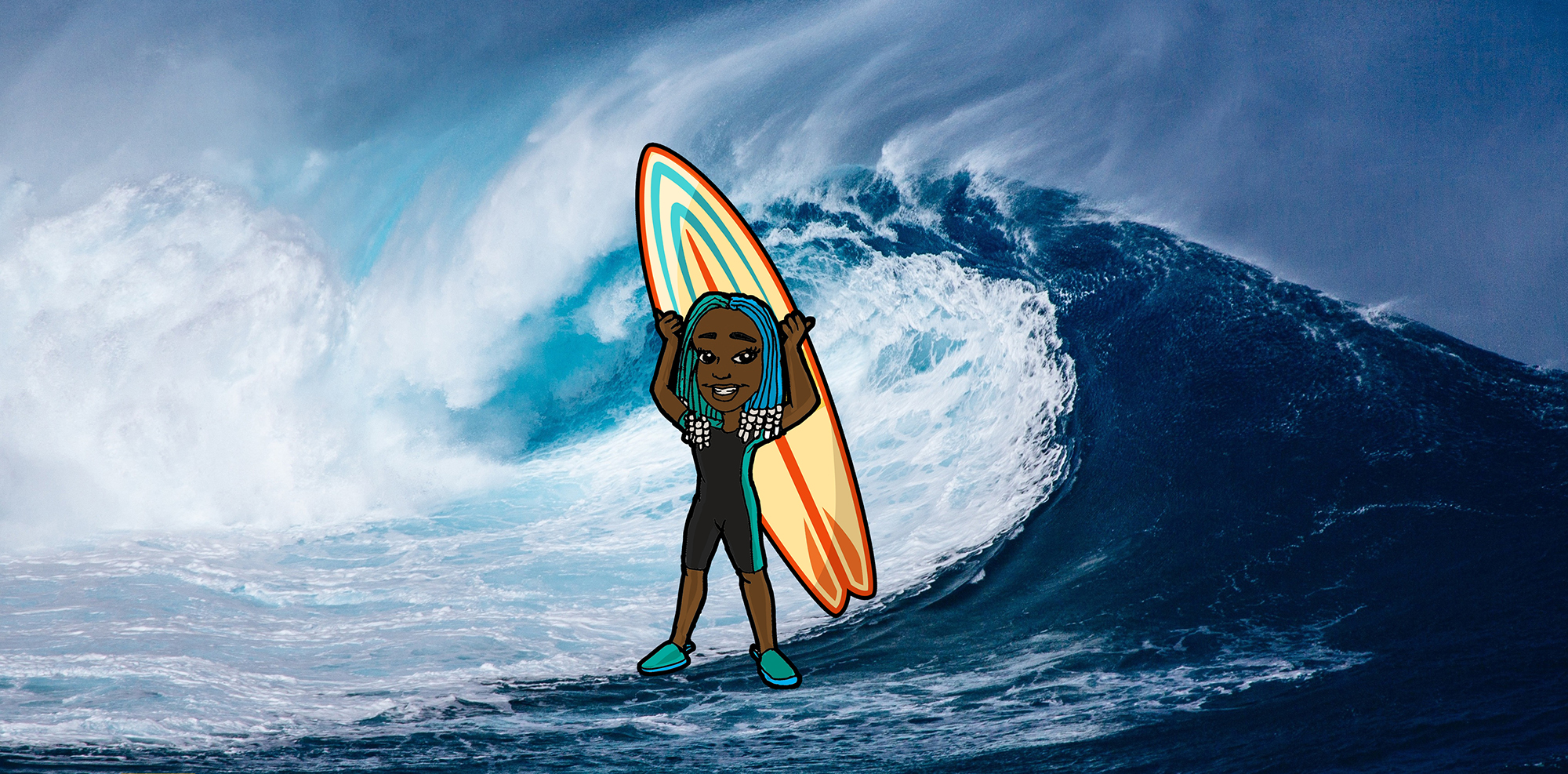 Black girl with surfboard cartoon in front of a photo of a wave