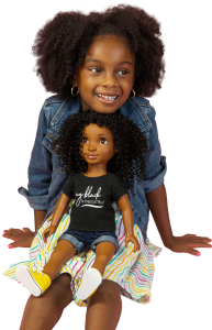 Black girl and her doll have the same look and natural hair