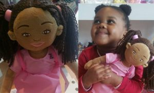 Two pictures, one shows a Zolie Zi plush doll. The other shows a cute little girl holding her doll tightly.