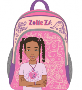 A backpack decorated with Zolie Zi's face and name