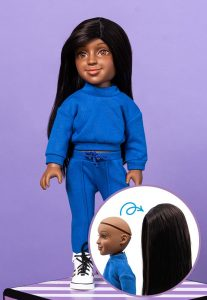 doll with diagram showing her head with wig