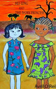 A Chinese little girl holds hands with an African girl in front of an African scene
