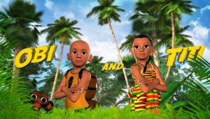 Nigerian boy and girl standing in a forest of lush palm trees - a monkey is hiding in the corner.