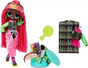 Black doll with long braids with fashions and accessories