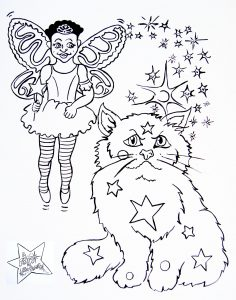 Line drawing of Bekki the Fairy and Fluffypuff to colour in