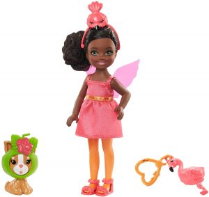 prettty black girl doll with flamingo on he head?