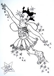 Colouring page of Bekki the Fairy flying