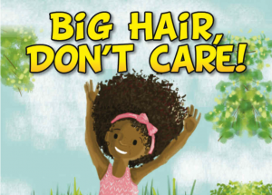 drawing of a little girl with an afro smiling with her hands in the air