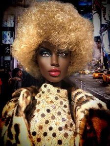 Sulty dark-skinned doll ina. curly blonde wig