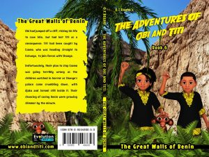 Book cover laid flat showing front and back. A boy and girl raise their firsts while a monkey watches them.