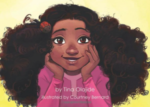 Illustration of a little black girl with big hair and a big smile