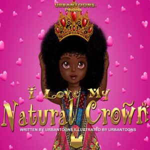 African little girl with afro hair and a crown