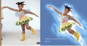 A studio shot of a girl posing and the same photo retouched to make her look like she is flying