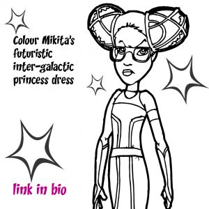 Drawing of girl in Star Trek style dress and hairstyle