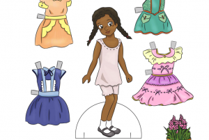 Parer doll surrounded by outfits