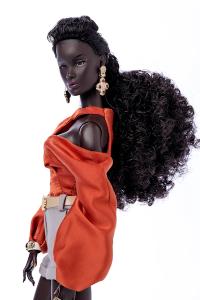 Black fashion doll in high fashion clothing