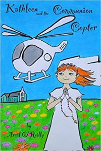 girl in First Holy Communion dress and veil has her hair and rosary beads blown sideways by a white helcopter