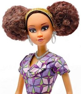 African fashion doll with modern clothes and natural afro hair