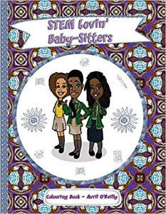 African wax print pattern with cartoon of three schoolgirls