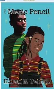 Drawings of Malcolm and Nia with twinkling stars