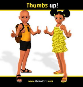 Nigerian boy and girl giving a thumbs up signal
