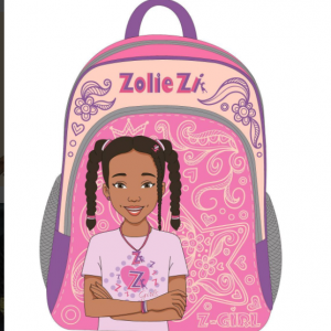 A backpack decorated with Zolie Zi' face and name