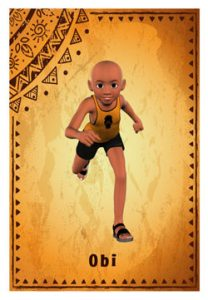 A patterned card with a Nigerian boy running towards the viewer
